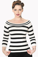 Black White Stripes Nautical Rockabilly Vintage Boat Neck Top By Banned Apparel