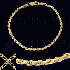 """NEW LADIES 7"""" FRENCH ROPE BRACELET GOLD ON 1/5 OZ SOLID STERLING SILVER #VRA"""