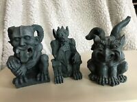 Medium Gothic Fantasy Garden Trolls Set of 3 Nose Ear Butt Picking Gargoyles NEW