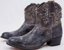 NEW $598 SZ 9 FRYE 77861 DEBORAH STUDDED GREY WESTERN COWBOY ANKLE BOOTIES BOOT