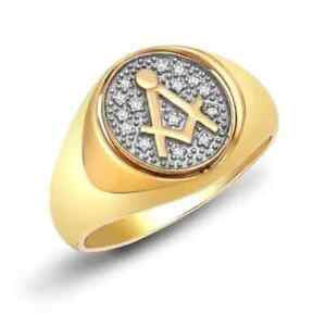 Brand New Gents 9ct Gold & Diamond 0.10ct. Masonic Square & Compass Swivel Ring
