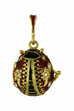 Russian Faberge Silver egg Pendant Beatle w/red/black w/stones .925 Sterling