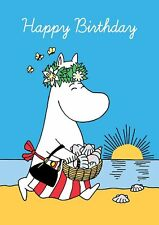 Moomin Mamma At Beach Happy Birthday ~ Blank Birthday Card   FREE 1ST CLASS POST