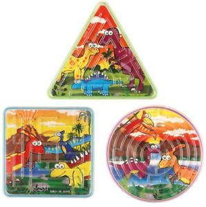 6 x Assorted DINOSAUR Maze Puzzle Toys - Party Bag Fillers - Favours