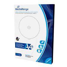 100 ETIQUETAS BLANCAS ADHESIVAS para CD DVD BLURAY - 15-118mm - BRILLANTE GLOSSY