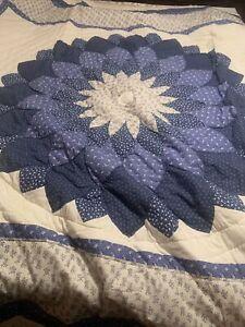 "Vintage Flower Blue Pattern QUILT  101"" X 90"""