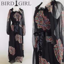 GIGI 1970S VINTAGE BLACK BOLD PAISLEY PRINT FLOATY BOHO GYPSY MAXI DRESS 8 XS