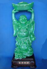 "28"" Big Jade Color Laughing Money Buddha Statue"