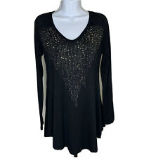Vocal Womens Top Size Medium Black with Silver Stud Bib Accent Long Sleeve Shirt