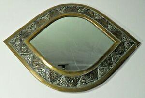 orientalischer MESSING WANDSPIEGEL ovale Augenform Metallarbeit 1001 Nacht Deko