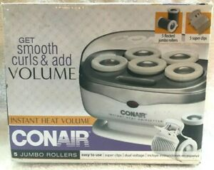Conair Instant Heat Volume Rollers 5 Flocked Jumbo Rollers & 5 Super Clips