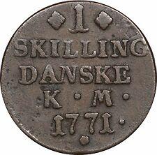1771 Denmark 1 Skilling Danske, KM# 616.1