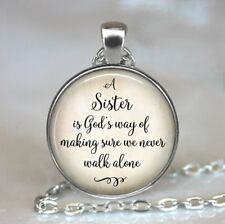 Sister Friendship Photo Tibet Silver Cabochon Glass Pendant Chain Necklace