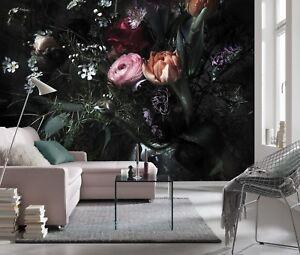 Black flowers Wall Mural photo Wallpaper for living room 368x254cm | no adhesive