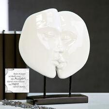 escultura moderna Faces poli Blanco Sobre Base Negra altura 28cm Ancho 22cm