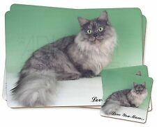 Munchkin Cat 'Love You Mum' Twin 2x Placemats+2x Coasters Set in Gi, AC-103lymPC