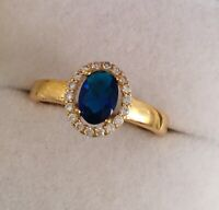 Vintage Jewellery Gold Ring with Blue White Sapphires Antique Deco Jewelry N