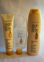 Avon 3 Piece Set Skin So Soft Signature Silk Body Lotion Hand Cream Shower Gel