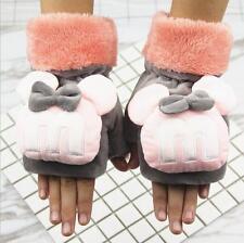手套女冬可爱卡通写字半指手套 加绒保暖露指手套