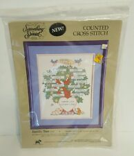 Family Tree Counted Cross Stitch KIT Birth Announcement Baby Bunny Bunnies NEW