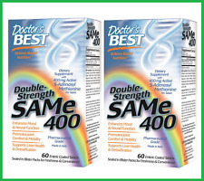 TWO BOTTLES: SAM-e 400mg 120 Tablets by Doctor's Best - 5 HTP SAMe Tryptophan