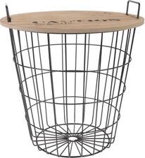 Design Beistelltisch Metall - Holz Deko Tisch mit Ablage - Couchtisch Nachttisch