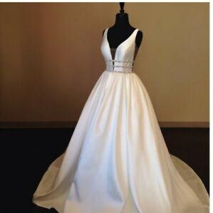 UK Bridal Satin White Ivory Sleeveless Crystal A Line Wedding Dress Size 6-18