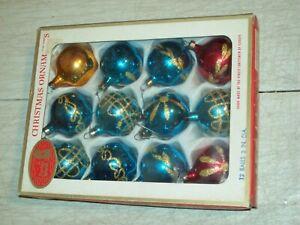 vintage Kurt Adler glass Christmas ornaments 12 in original Santa's World box