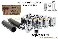12x1.5 Chrome Spline Tuner Lug Nuts 20pc + Keys Fits 2013-2018 Cadillac ATS CTS