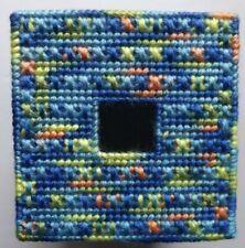 TISSUE BOX COVER HANDMADE BLUE/YELLOW/ORANGE DESIGN
