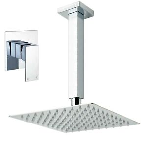 """Chrome 8"""" Square Shower Head Set Concealed Mixer Valve Tap Ceiling Mounted Arm"""