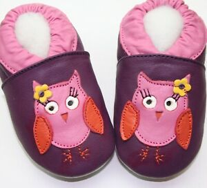 Minishoezoo owl purple  24-36 m US 9-10 soft sole leather girl shoes