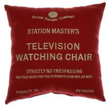 First class television watching chair red cushion Harvey Makin railway humour