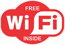 """FREE Wi-Fi"" WiFi STICKER DECAL FOR RESTAURANT-CAFE-HOTEL WINDOW, WALL, COUNTER"