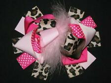 "NEW ""PINK LEOPARD Brown"" Fur Hairbow Alligator Clips Girls Ribbon Bows 5.5 Inch"