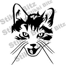 Cute Kitten Tabby Cat Face Car Window Van Bike Decorative Sticker SBC12