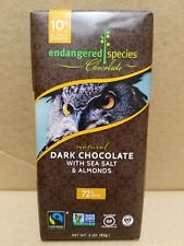 Endangered Species Dark Chocolate Sea Salt & Almonds 72% Cocoa Pack of 12