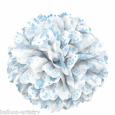 "14"" Christmas Party Winter Elegant Shimmer Snowflakes Paper Puff Ball Decoration"
