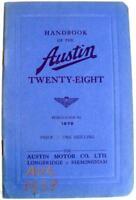 AUSTIN 28 1938 #1679 Original Car Owners Handbook