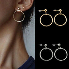 Women Silver Gold Plated Big Circle Smooth Large Ring Hoop Earrings Fashion