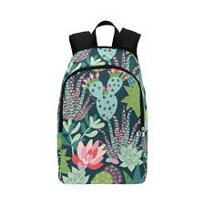 Succulents and Cactus Unisex Shoulders Bag Fabric Backpack Multipurpose Daypacks