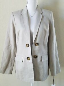 CALVIN KLEIN Women's Open Front Linen Blend Blazer PETITE Size 12P**Beige**NWT**