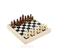 Chess Travel Game Small Wooden Chess Traditional Board Family Entertainment Game