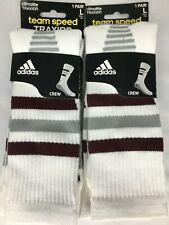 2x Pair Adidas Climalite Burgundy and Gray Striped Soccer Socks Mens sz Large