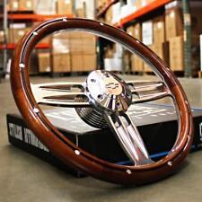 "14"" Inch Polished & Wood Steering Wheel Chevy Bowtie Horn , 6 Hole C10 Camaro"