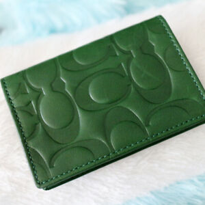 NWT COACH Men's Embossed Signature Leather Green Travel Card Case NEW $118