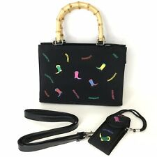 NEW Black Handbag Bamboo Handles Embroidered Western Boots Southern States Case