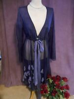 Out of Xile Exile Purple Silk Organza Silk Flower Duster Coat Size 3 UK 14