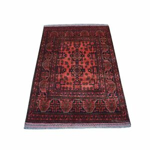 """3'3""""x4'8"""" Deep and Saturated Red Afghan Andkhoy Pure Wool Hand Made Rug R53706"""