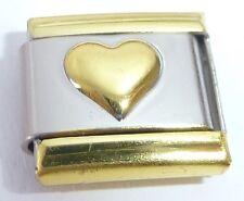 GOLD TRIM & HEART Italian Charm - LOVE 9mm fits Classic Starter Bracelets E40